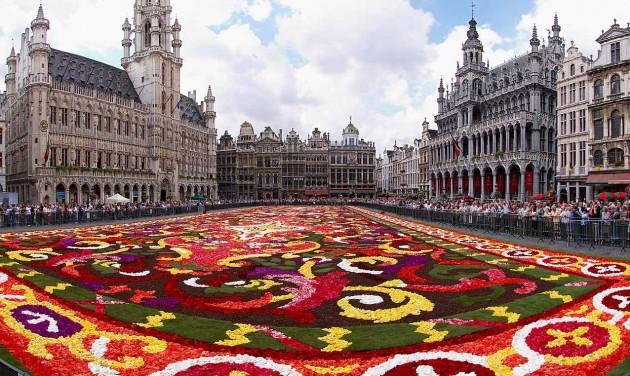 Virágszőnyeg borítja Brüsszel főterét