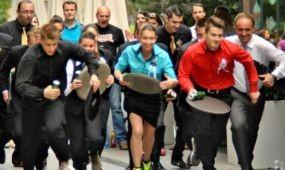 Pincér futóverseny volt a belvárosban