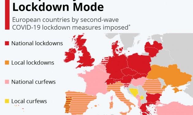 Térképen az Európában bevezetett korlátozások