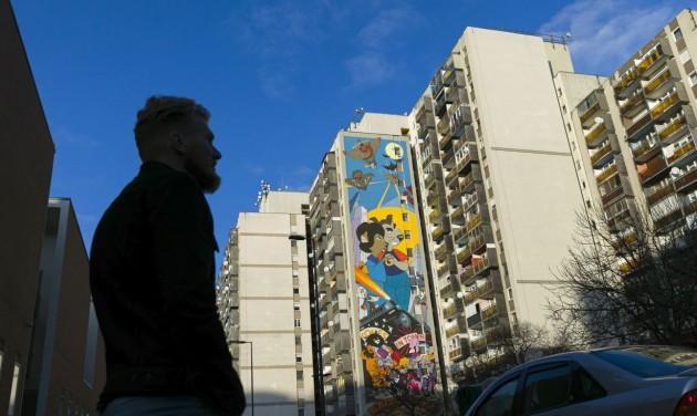 Újabb tűzfalat festettek ki a Józsefvárosban