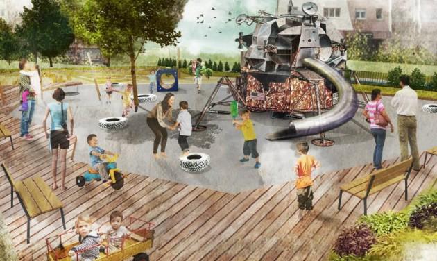 Félidőben az óbudai Holdudvar park építése