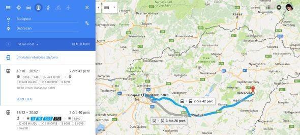 Már a Google Térkép is ismeri a vasúti menetrendet