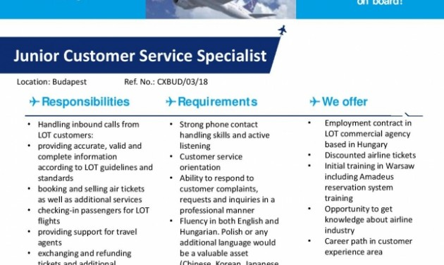 Junior Customer Service Specialist, Budapest