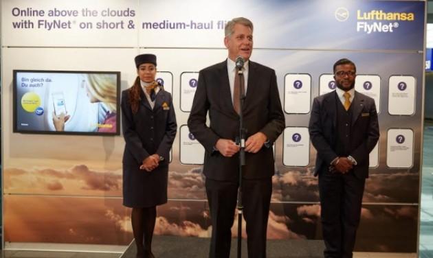 Fedélzeti internet a Lufthansa és az Austrian Airlines rövid- és középtávú járatain