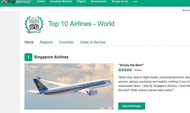 Nyolc kategóriában tarolt a Singapore Airlines