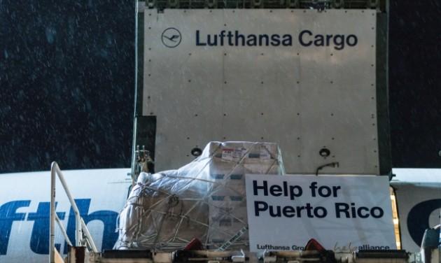 A Lufthansa segélyszállítmányt vitt Puerto Ricóba