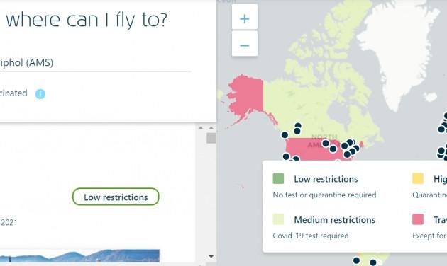 Internaktív térképszolgáltatás a célországokról a KLM-től