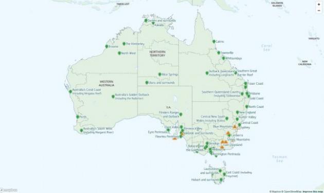 Térképes weboldal a bozóttüzekről