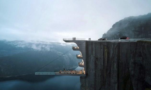 Függő szálloda épülhet fjordok felett