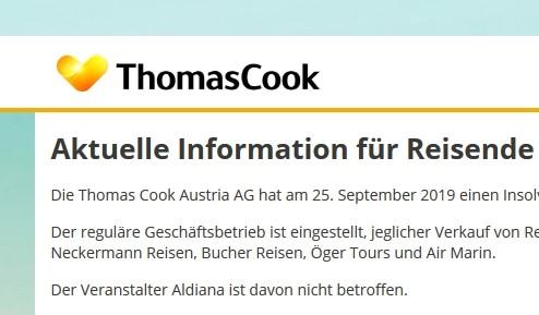 Fizetésképtelenséget jelentett a Thomas Cook Austria